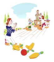 ボーリングをする家族 02463001465| 写真素材・ストックフォト・画像・イラスト素材|アマナイメージズ