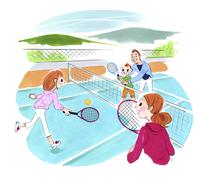 テニスをする家族