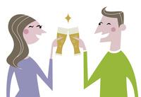 ビールで乾杯をする男性と女性