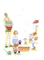庭で花を植える家族