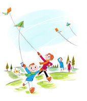 凧揚げをする家族 02463001481| 写真素材・ストックフォト・画像・イラスト素材|アマナイメージズ