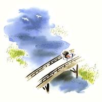 橋を渡る人力車