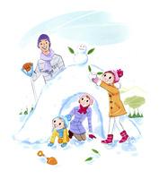 鎌倉を作る家族 02463001494| 写真素材・ストックフォト・画像・イラスト素材|アマナイメージズ