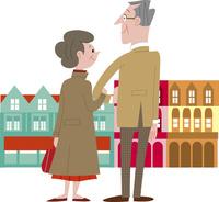 街を歩く老夫婦