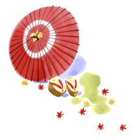 赤い番傘と下駄と紅葉