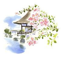お寺とピンクの花