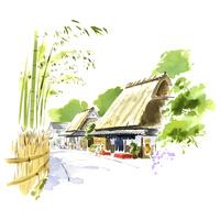 竹林と茶店
