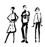 墨で描かれた3人