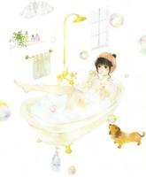 お風呂でシャボン玉を楽しむ女性
