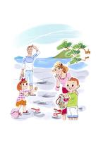 潮干狩りをする家族 02463001554| 写真素材・ストックフォト・画像・イラスト素材|アマナイメージズ