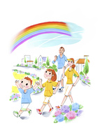 虹を見て散歩をする家族