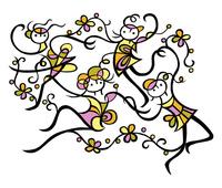 手や足を枝に見立てた女性たち