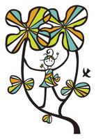 花の茎の上に立つ人