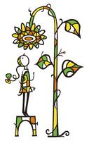 台に乗って花を観察する人