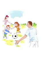 サッカーボールで遊ぶ家族 02463001571| 写真素材・ストックフォト・画像・イラスト素材|アマナイメージズ