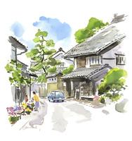日本家屋のある風景 02463001579| 写真素材・ストックフォト・画像・イラスト素材|アマナイメージズ