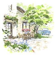 庭先のテーブルと車 02463001580| 写真素材・ストックフォト・画像・イラスト素材|アマナイメージズ