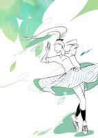 スマホを持って風の中で踊る女の子