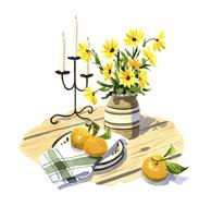 机の上の花とオレンジ