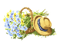 カゴの中の花束と帽子