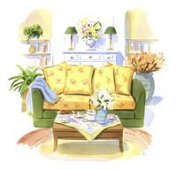 2人掛けソファーとティータイム 02463001595| 写真素材・ストックフォト・画像・イラスト素材|アマナイメージズ