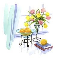 窓際に置かれた花とオレンジ