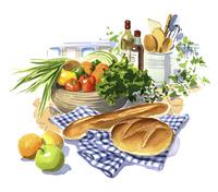 テーブルの上のパンや野菜