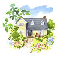 花に囲まれた一軒家 02463001599| 写真素材・ストックフォト・画像・イラスト素材|アマナイメージズ