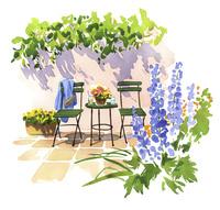 花とチェアーのあるテラス