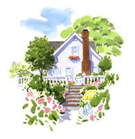 花の間の階段の先にある一軒家