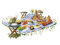 ピクニックで広げられた食事 02463001602| 写真素材・ストックフォト・画像・イラスト素材|アマナイメージズ