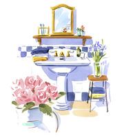 花のある洗面スペース 02463001606| 写真素材・ストックフォト・画像・イラスト素材|アマナイメージズ