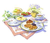 パンケーキと紅茶のティータイム
