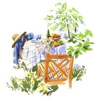 植物に囲まれたカフェスペース