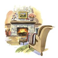 火のくべられた暖炉 02463001618| 写真素材・ストックフォト・画像・イラスト素材|アマナイメージズ