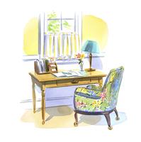 机の上に広げられたノートと書斎スペース 02463001619| 写真素材・ストックフォト・画像・イラスト素材|アマナイメージズ
