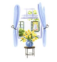 窓際に置かれた黄色いチューリップ 02463001620| 写真素材・ストックフォト・画像・イラスト素材|アマナイメージズ