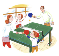 卓球をする家族