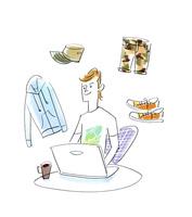 ネットショッピングをする男性 02463001630| 写真素材・ストックフォト・画像・イラスト素材|アマナイメージズ