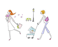 花を持って歩く女性とベビーカーを押す女性