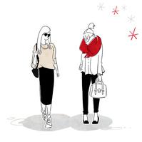 サングラスをかけた女性と赤いマフラーの女性