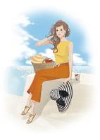 大きな帽子を持って海のそばに座る女性