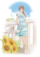 ひまわりのあるデッキに立つワンピースの女性 02463001646| 写真素材・ストックフォト・画像・イラスト素材|アマナイメージズ