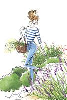 花を摘みに来た女性