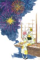 縁側で花火を見る浴衣の女性