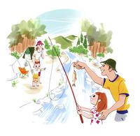 川にキャンプに来て魚釣りをする家族