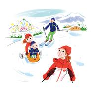 スキーやそりで遊ぶ家族
