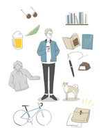 男性と身の回りのお気に入りのアイテム 02463001677| 写真素材・ストックフォト・画像・イラスト素材|アマナイメージズ