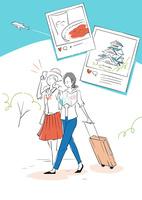 ガイドブック片手に旅行をする二人組の女性