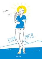 夏のTシャツを着た女の子